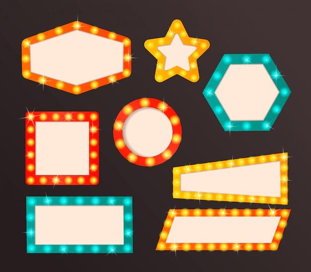 Gloeiend bioscoopuithangbord met gloeilampen op de contour