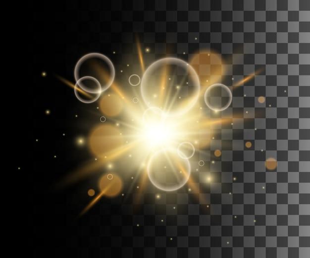 Gloeiend geel transparant effect, lensflare, explosie, glitter, lijn, zonneflits, vonk en sterren. voor illustratie sjabloon kunst, voor kerstmis vieren, magische flitsenergiestraal