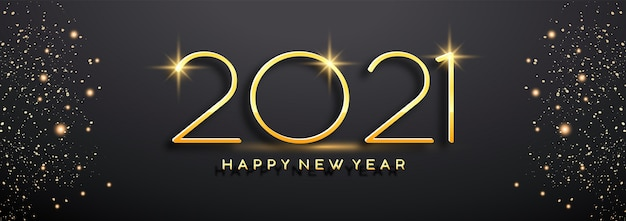 Gloeiend gouden nieuwjaar 2021 op zwarte achtergrond