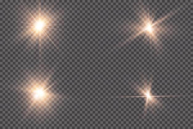 Gloeiend licht explodeert op een transparante achtergrond. met straal. transparante stralende zon, felle flits. het centrum van een heldere flits.