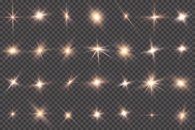 Gloeiend licht explodeert op een transparante achtergrond. met straal.