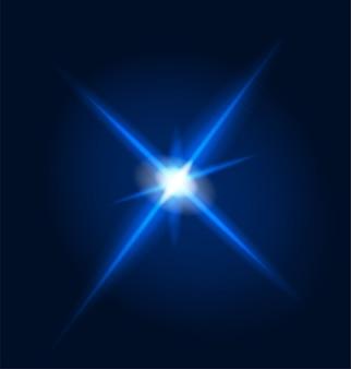 Gloeiend licht lens flare en burst ster neon flits blauwe stralen schittering transparant realistisch