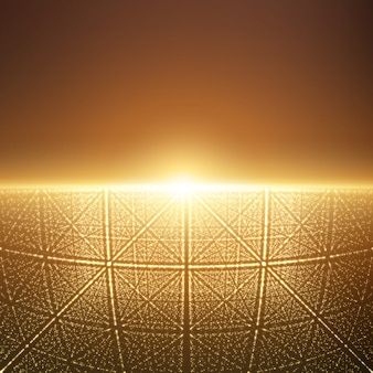 Gloeiend licht met illusie van diepte en perspectief