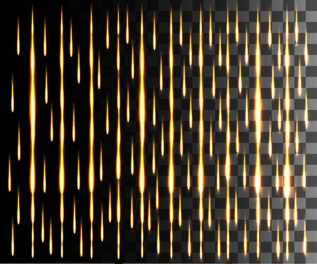 Gloeiend lijn abstract effect. regen effect. gouden lijnen lichteffect op transparante achtergrond.