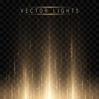 Gloeiend magisch lichteffect en lange sporen schieten in beweging.