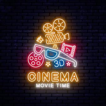 Gloeiend neon bioscoop teken