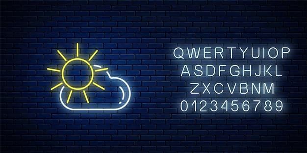 Gloeiend neon met zon en wolkenweerpictogram met alfabet. bewolkt symbool met zonnig in neonstijl tot weersvoorspelling in mobiele applicatie. vector illustratie.