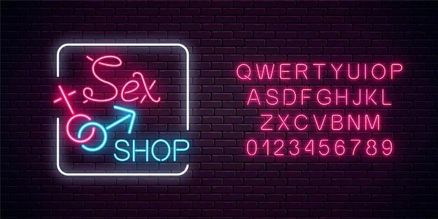 Gloeiend neon sekswinkel straatnaambord met alfabet. volwassen winkelbanner. seksspeeltjes voor volwassen mensen.