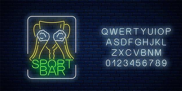 Gloeiend neon sportbar concept. award cup met glas bier als pub met live sportuitzending uithangbord en alfabet.