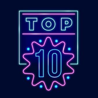 Gloeiend neon top tien teken