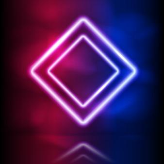 Gloeiend neon vierkant dubbel frame.