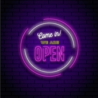 Gloeiend neon 'we are open'-bord