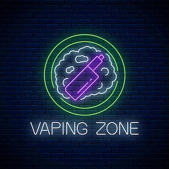 Gloeiend neonteken van dampzone op donkere bakstenen muur. vape kit gebied symbool. uithangbord van rookplaats. illustratie.