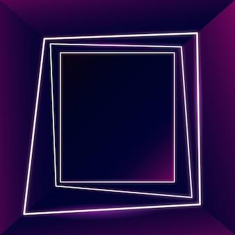 Gloeiend roze neon frame op een donkere achtergrond