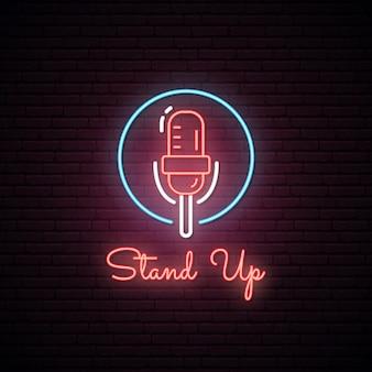 Gloeiend stand-up teken. neon effect.
