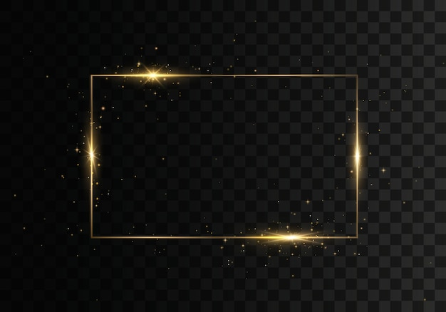 Gloeiend vintage gouden frame met lichteffecten.