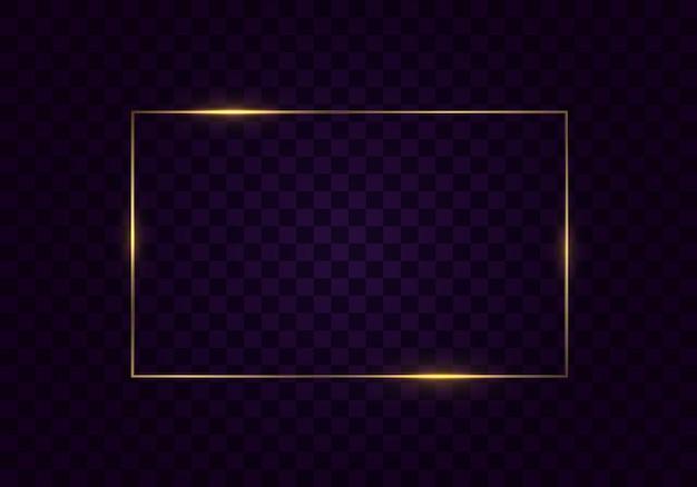Gloeiend vintage gouden frame met schaduwen geïsoleerd op transparante achtergrond. rechthoekig frame met lichteffecten. gouden luxe realistische rechthoekrand.