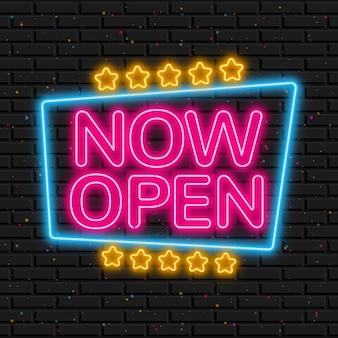 Gloeiend 'we zijn open'-bord