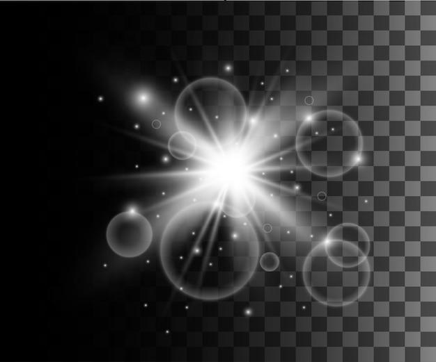Gloeiend wit transparant effect, lensflare, explosie, glitter, lijn, zonneflits, vonk en sterren. voor illustratie sjabloon kunst, voor kerstmis vieren, magische flitsenergiestraal