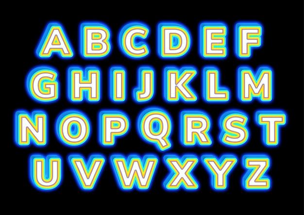 Gloeiende 3d-vorm blok alfabetten instellen