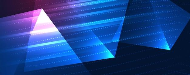 Gloeiende banner in technologiestijl met driehoekige vormen