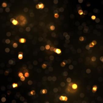 Gloeiende bokehlichten stralende sterzondeeltjes vonken met lensflare-effect kerststof