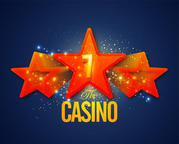 Gloeiende casino achtergrond met lucky seven op 3d sterren.