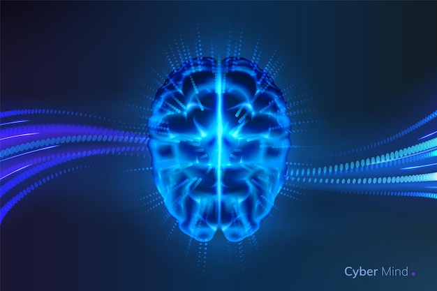 Gloeiende cybergeest of stralende kunstmatige intelligentiehersenen. neuraal netwerk of machine learning-achtergrond. futuristisch ai-denken. cyberbrein en cyberspace, mens en robot. wetenschap thema