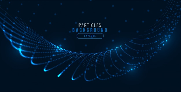 Gloeiende digitale blauwe technologie deeltje golf achtergrond