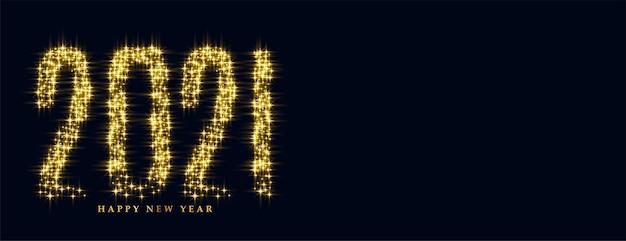 Gloeiende fonkelingsbanner van gelukkig nieuwjaar