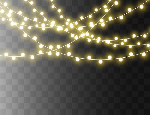 Gloeiende gele cirkels. witte vonken en gouden sterren schitteren met een speciaal lichteffect. vector schittert op transparante achtergrond. kerst abstract patroon. sprankelende magische stofdeeltjes