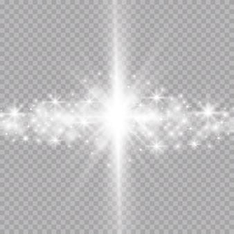 Gloeiende glitter lichteffecten geïsoleerd realistisch. stralende elementen en sterren.