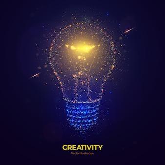 Gloeiende gloeilamp vectorillustratie gemaakt van neon deeltjes.