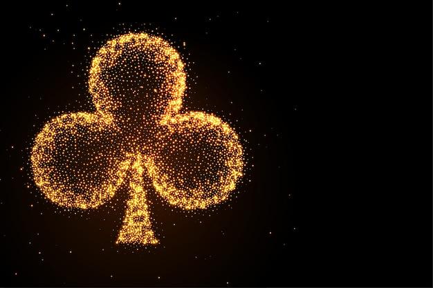 Gloeiende gouden glitter clubs symbool zwarte achtergrond