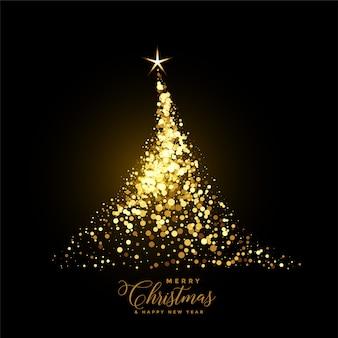 Gloeiende gouden kerstboom gemaakt met sparkles