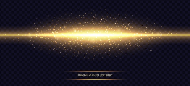 Gloeiende gouden lijn met lichteffect geïsoleerd op donker transparant