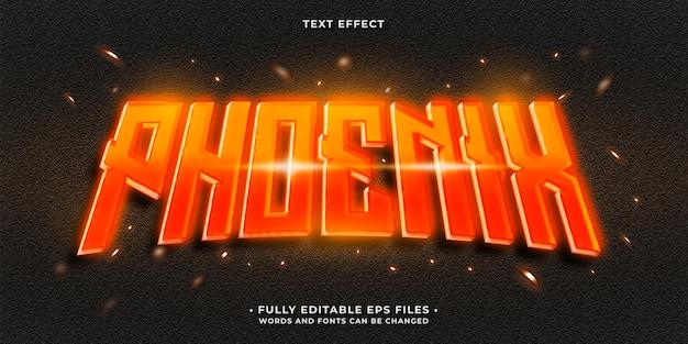 Gloeiende hete brandende vlammen van rode feniks teksteffect bewerkbare eps cc