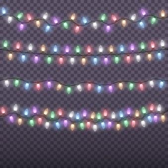 Gloeiende kleurrijke kerst slingers string. kerstlichten