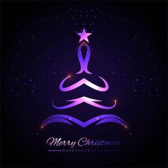 Gloeiende kleurrijke kerstboom achtergrond