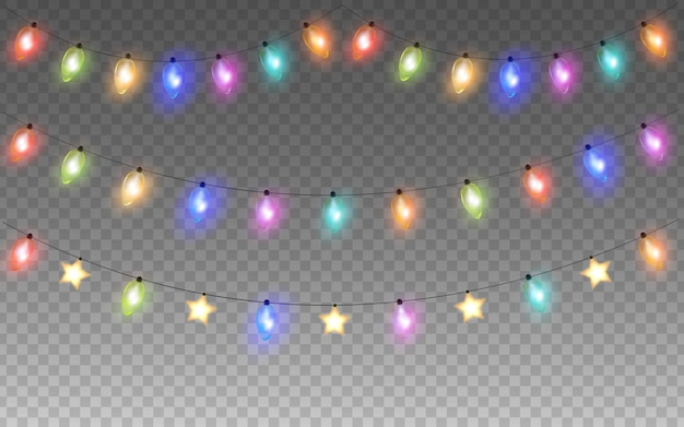 Gloeiende kleurrijke kerstmis of nieuwjaar slinger string gloeilampen geïsoleerd op transparante achtergrond