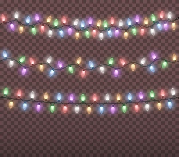 Gloeiende kleurrijke kerstverlichting string