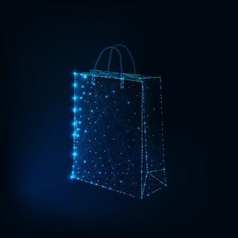 Gloeiende lage poly boodschappentas gemaakt van sterren en lijnen