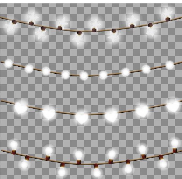 Gloeiende lampenslingers op een transparante achtergrond