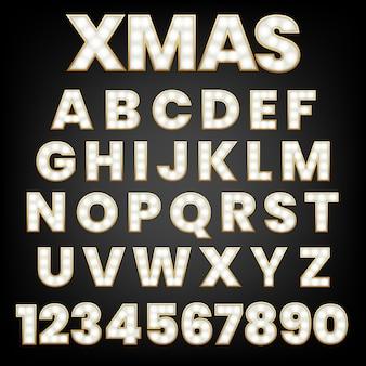 Gloeiende letters met gloeilampen en een gouden omtrek.