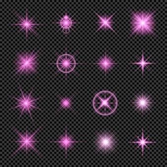 Gloeiende lichteffecten in roze geïsoleerd op transparante achtergrond