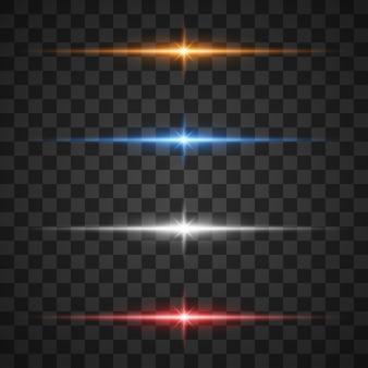 Gloeiende lichteffecten, ster barsten met schittert op transparant