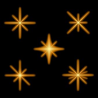 Gloeiende lichteffectsterren barsten van de sprankeling neon magische starburst