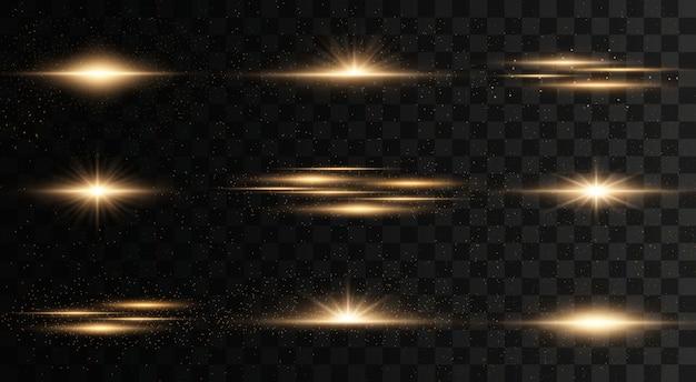 Gloeiende lichten en sterren. geïsoleerd op transparante achtergrond. licht ontploft. sprankelende magische stofdeeltjes. heldere ster, fonkelt transparante stralende zon, flitslichteffect