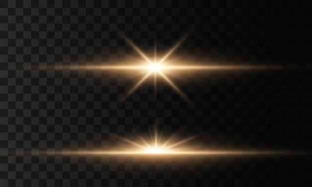 Gloeiende lichten en sterren. geïsoleerd op transparante achtergrond. licht ontploft. sprankelende magische stofdeeltjes. heldere ster, glinstert transparante stralende zon, flitslichteffect