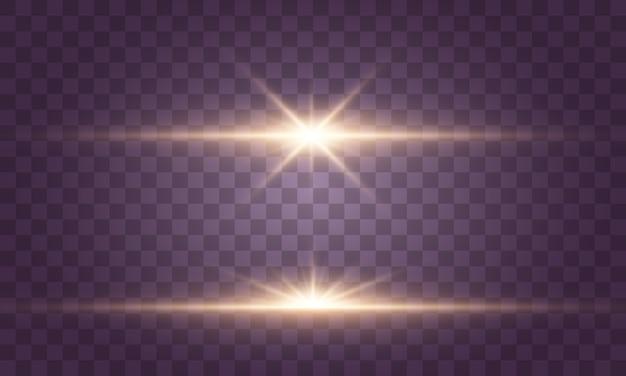 Gloeiende lichten en sterren. geïsoleerd op transparante achtergrond. licht ontploft. sprankelende magische stofdeeltjes.